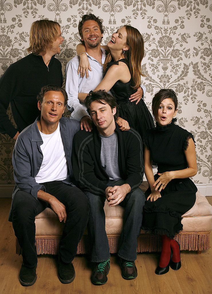 The Last Kiss stars Eric Christian Olsen, Michael Weston, Jacinda Barrett, Tony Goldwyn, Zach Braff, and Rachel Bilson joked around during their official portrait studio session in 2006.