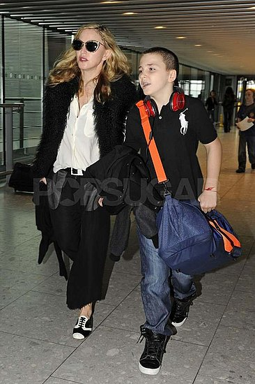 Madonna and Rocco Ritchie at Heathrow.