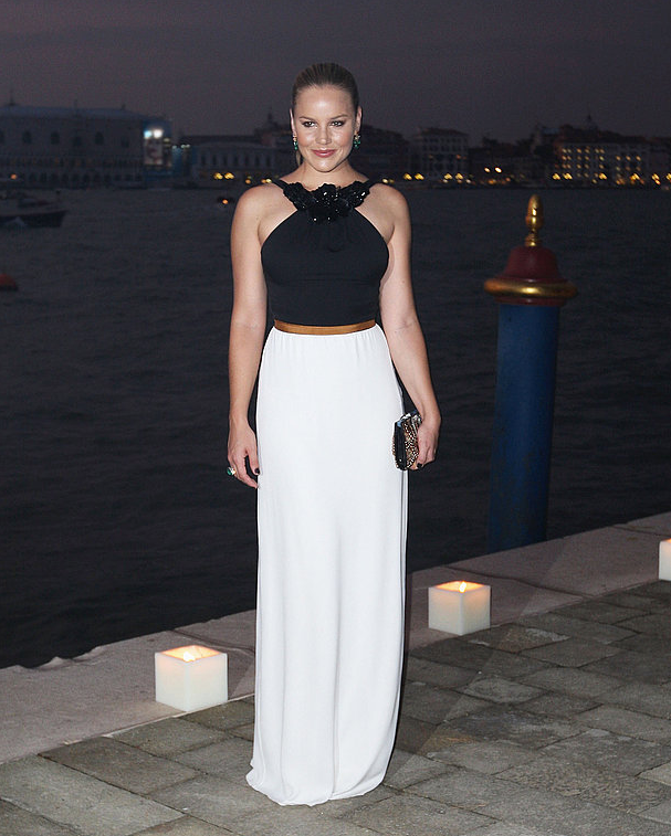 Abbie Cornish looked sleek in a Gucci black and white gown at the Gucci Award For Women in Cinema event.