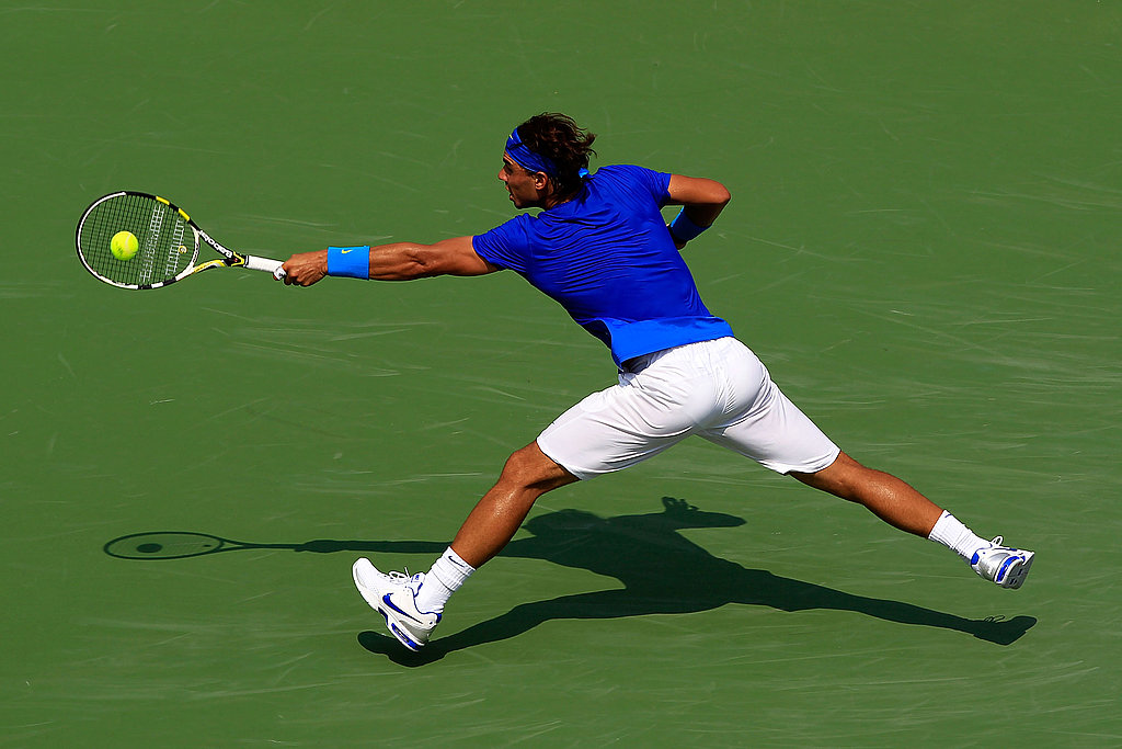 Rafael Nadal of Spain returns a shot against David Nalbandian of Argentina on Sunday.