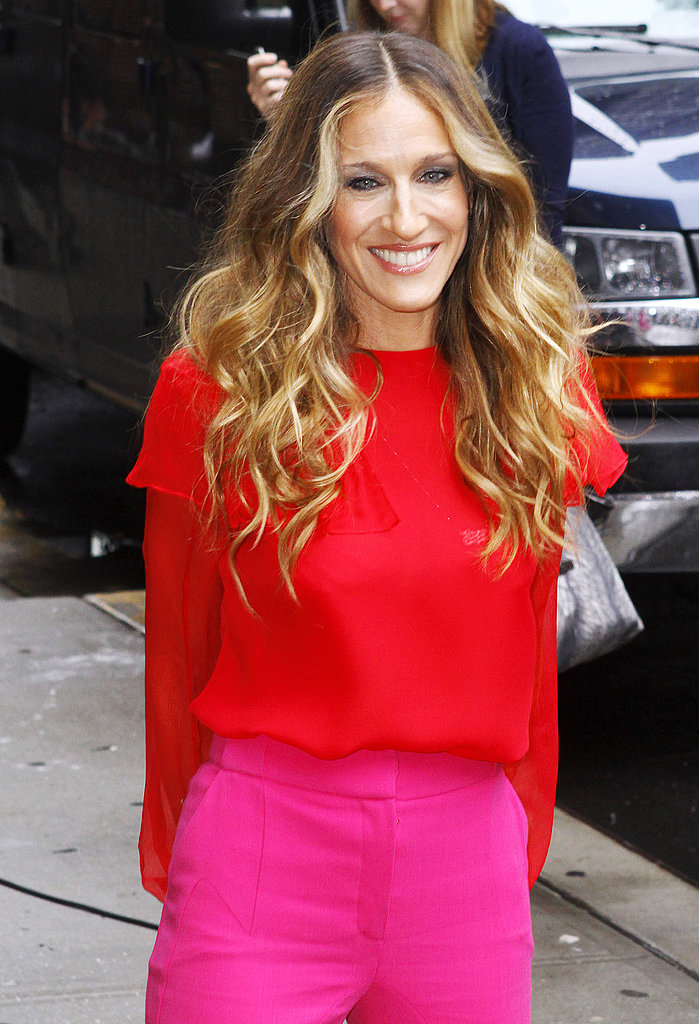 Sarah Jessica Parker arrives at David Letterman's studios.