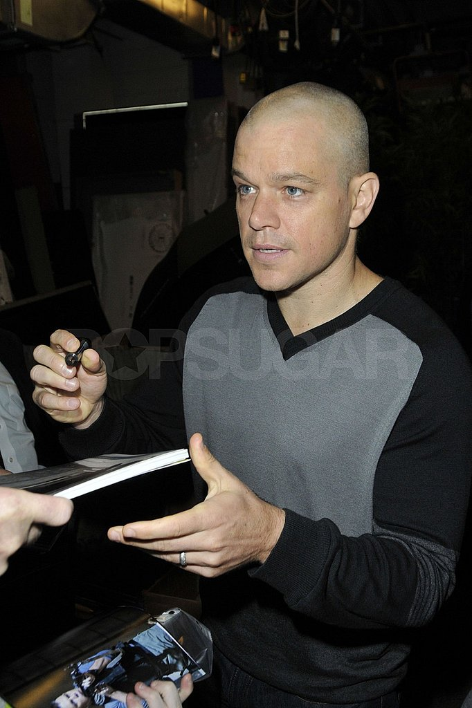 Matt Damon was rocking a bald head outside his NYC hotel.