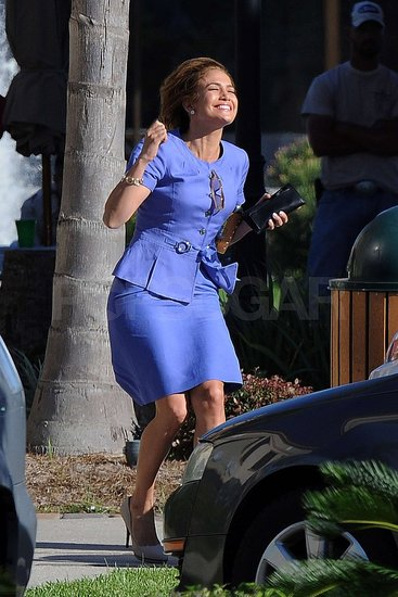 Jennifer Lopez wore a purple skirt suit on set.