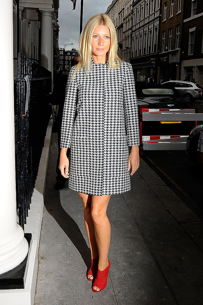Gwyneth Paltrow arrives at a Coach dinner in red heels.