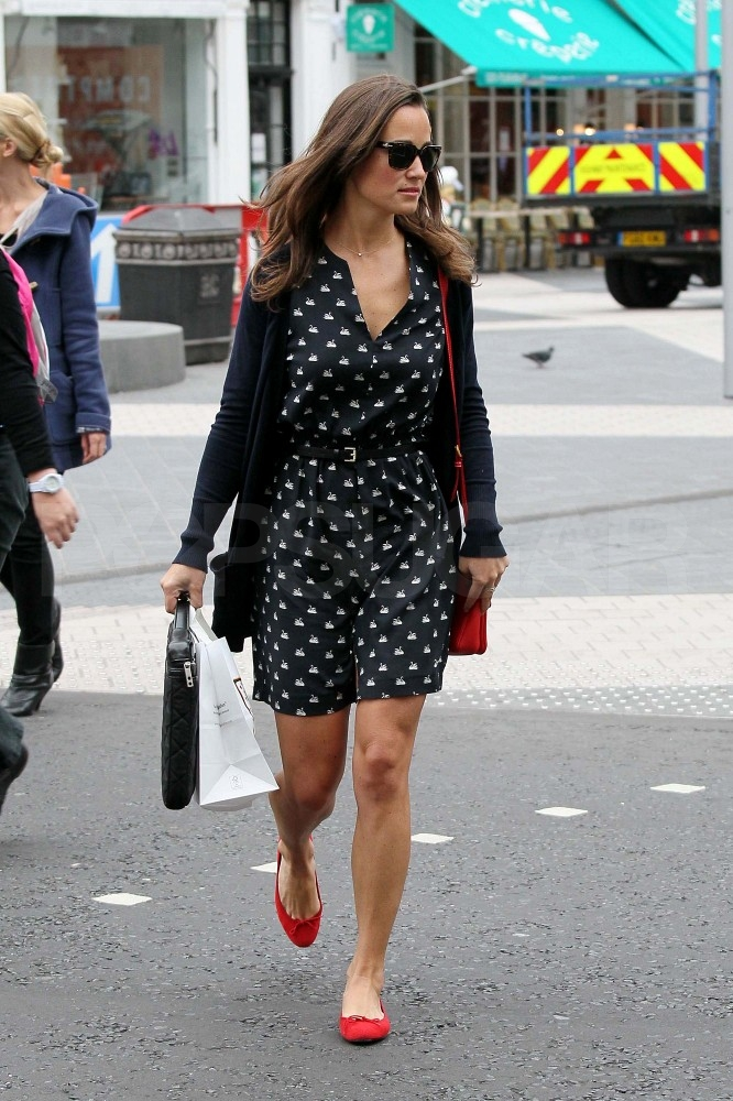 Pippa Middleton in red, white, and black.