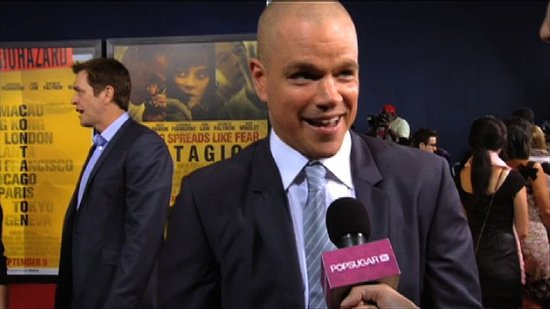 Video: Matt Damon Talks About Fan Reaction to His Bald Head at the Contagion Premiere!
