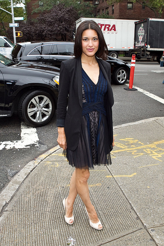 Twilight's Julia Jones looked sleek in a sheer navy dress and black blazer.