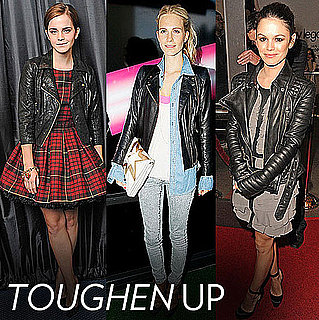 Pictures of Celebrities Wearing Leather Biker Jackets, Including Blake Lively, Rachel Bilson, Beyonce and Emma Watson