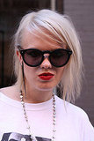 Platinum blond hair + matte red lipstick = badass.