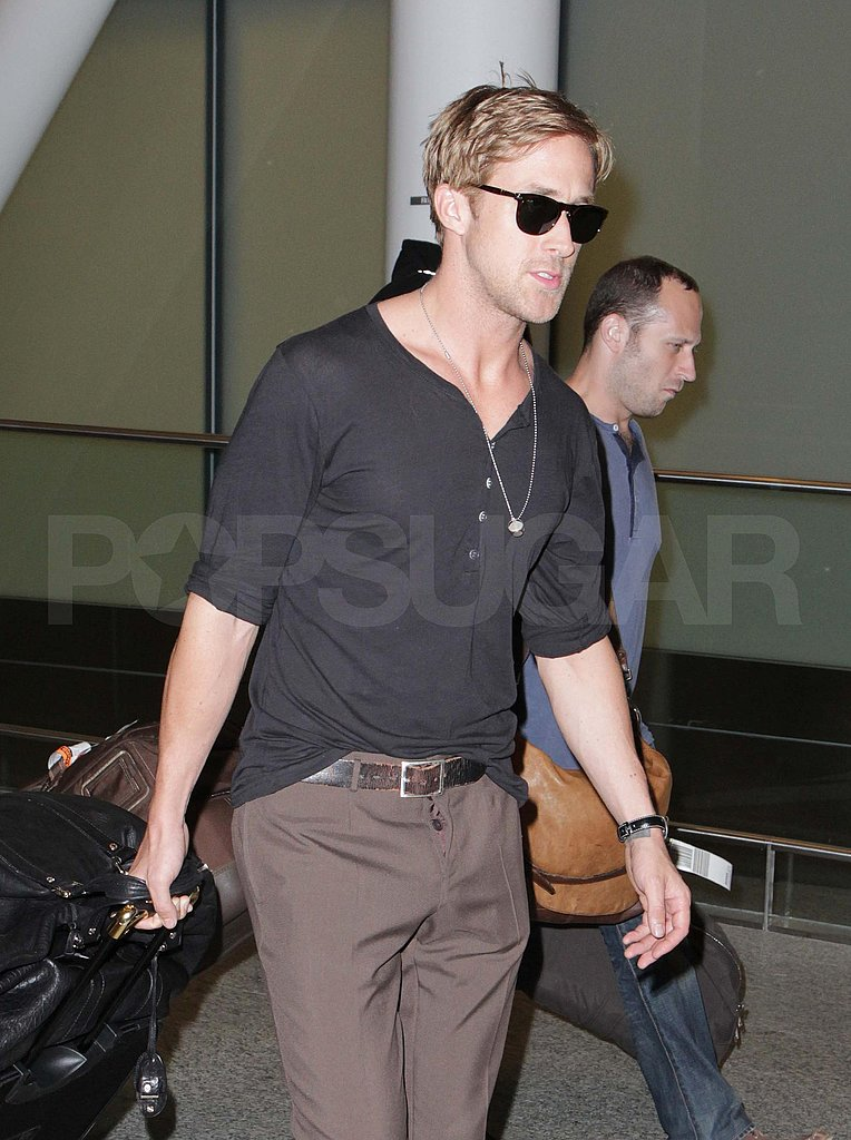 Ryan Gosling wore sunglasses at the Toronto Airport.