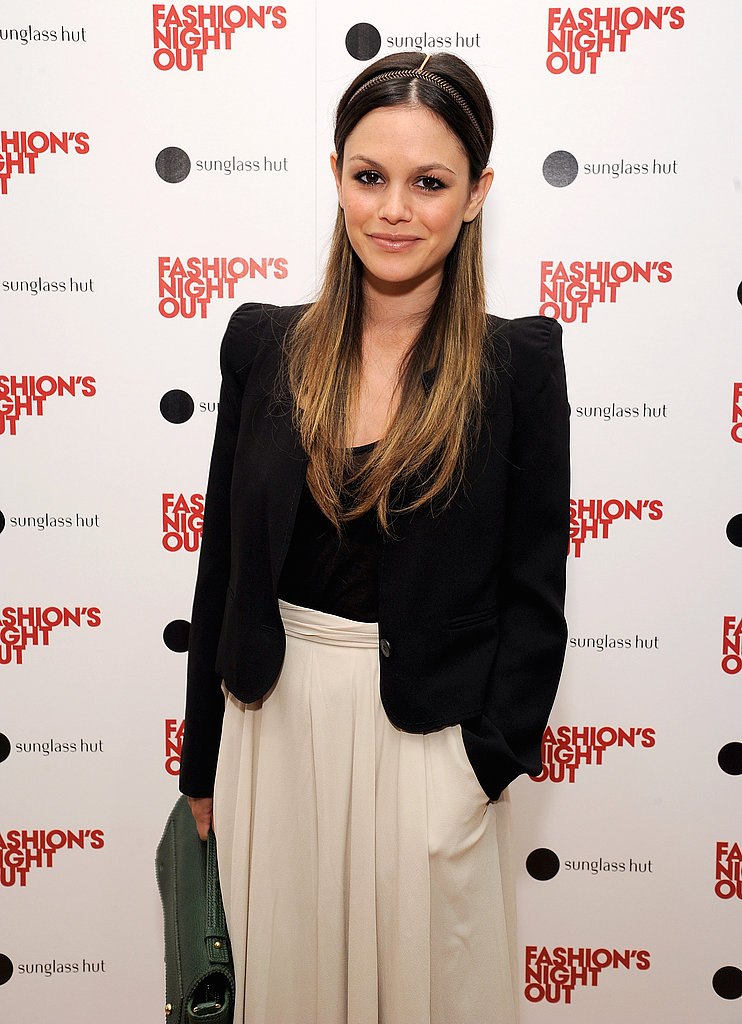 Rachel Bilson kept her color-scheme basic on Fashion's Night Out.