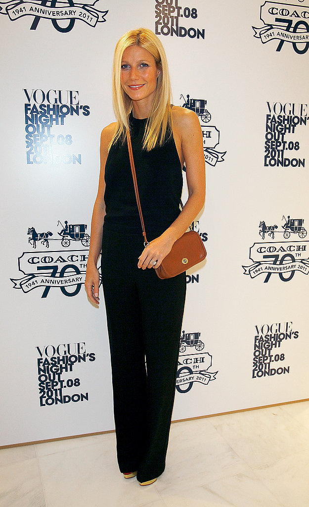Gwyneth Paltrow poses at Fashion's Night Out in London.
