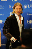 Brad Pitt greeted the crowd at his Moneyball press conference.
