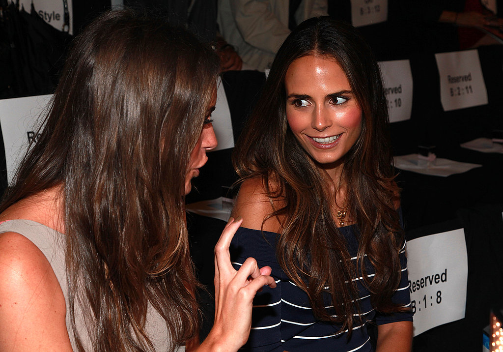 Jordana Brewster and Louise Row chatted at the BCBG Max Azria fashion show.