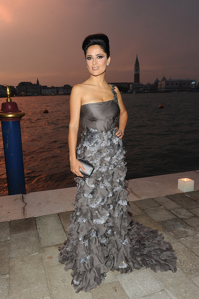 Salma Hayek was the picture of old-Hollywood glamour in a tiered Gucci gown at the Venice Film Festival.