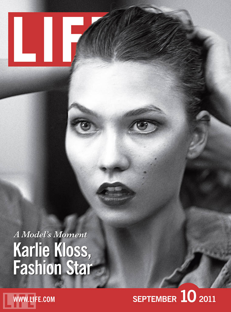 On the cover of the special Fashion Week edition of LIFE, Karlie gazes into a mirror backstage at Jean Paul Gaultier's couture show.  Gabrielle Revere/LIFE.com