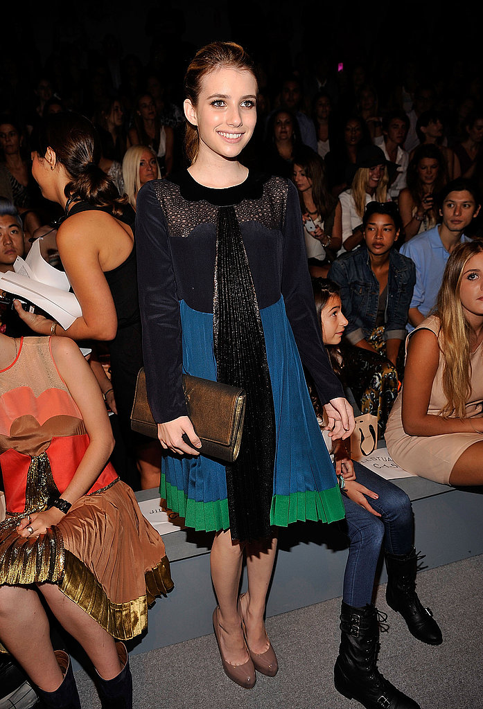 Emma Roberts stepped out in pleats for Jill Stuart.