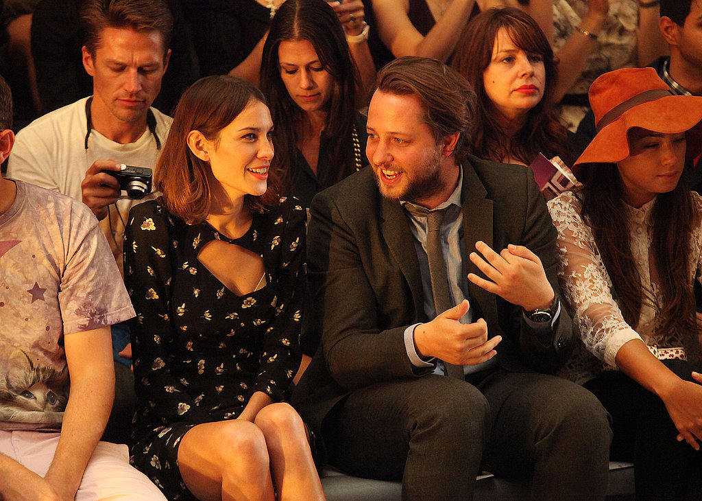 Alexa Chung jokes around with fashion writer Derek Blasberg at Cynthia Rowley.