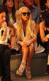 Lindsay Lohan front row at Cynthia Rowley.