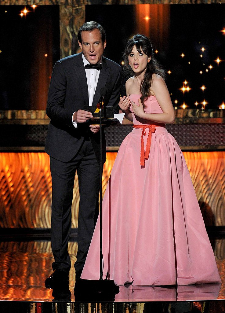 Will Arnett and Zooey Deschanel teamed up to present for writing in a comedy.
