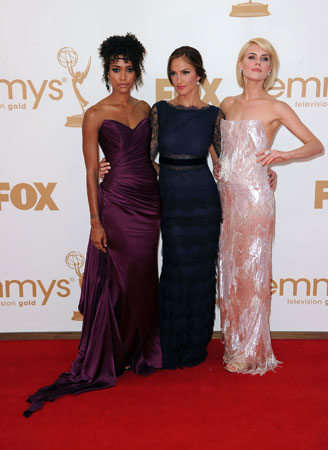 Minka Kelly, Rachael Taylor, and Annie Ilonzeh of the upcoming Charlie's Angels posed together on the red carpet.