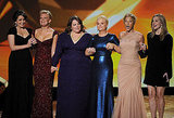 Tina Fey, Martha Plimpton, Melissa McCarthy, Amy Poehler, Edie Falco and Laura Linney shared the stage at the 2011 Emmy Awards.