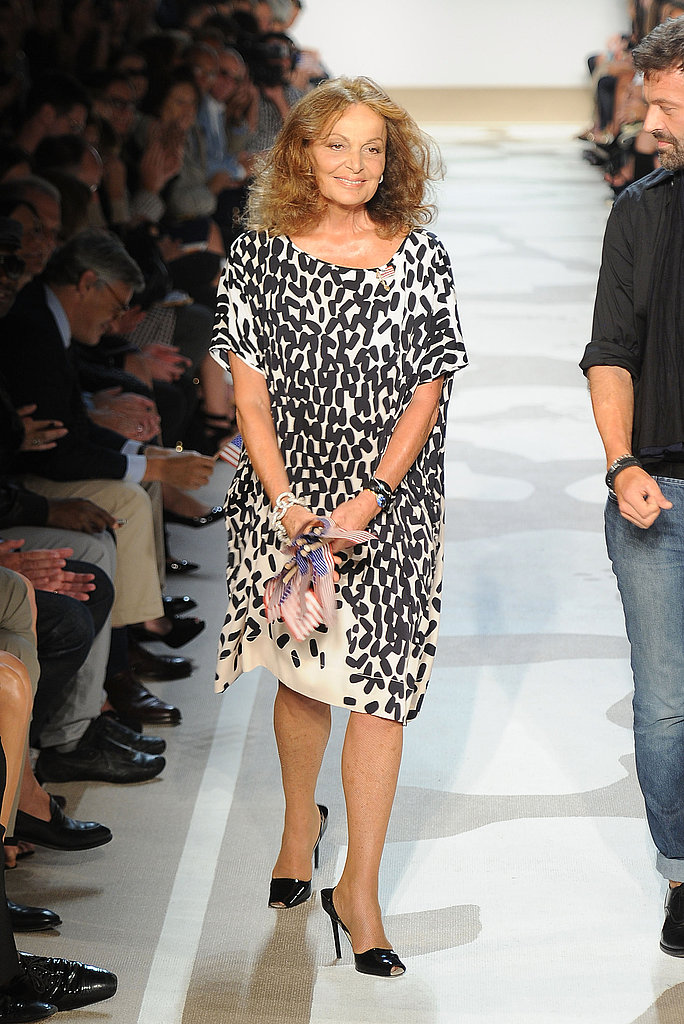 Diane Von Furstenberg took the runaway after her show.