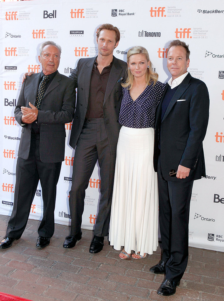 Alexander Skarsgard, Kirsten Dunst, and Kiefer Sutherland at the Melancholia premiere.