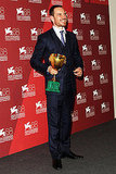 Michael Fassbender held the Volpi Cup at the Venice Film Festival.