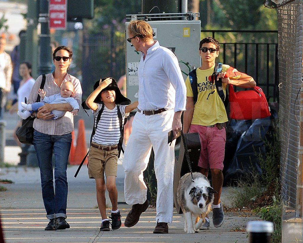 Paul Bettany walking in NYC with Jennifer Connelly, Agnes Bettany, Stellan Bettany, and Kai Dugan.