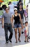 Halle Berry, Olivier Martinez, and Nahla Aubry in Majorca, Spain.