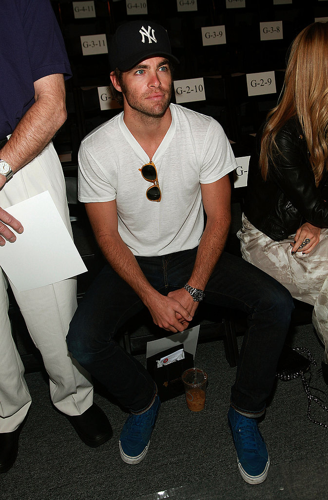 Chris Pine checks out Rebecca Minkoff's fashion week show.