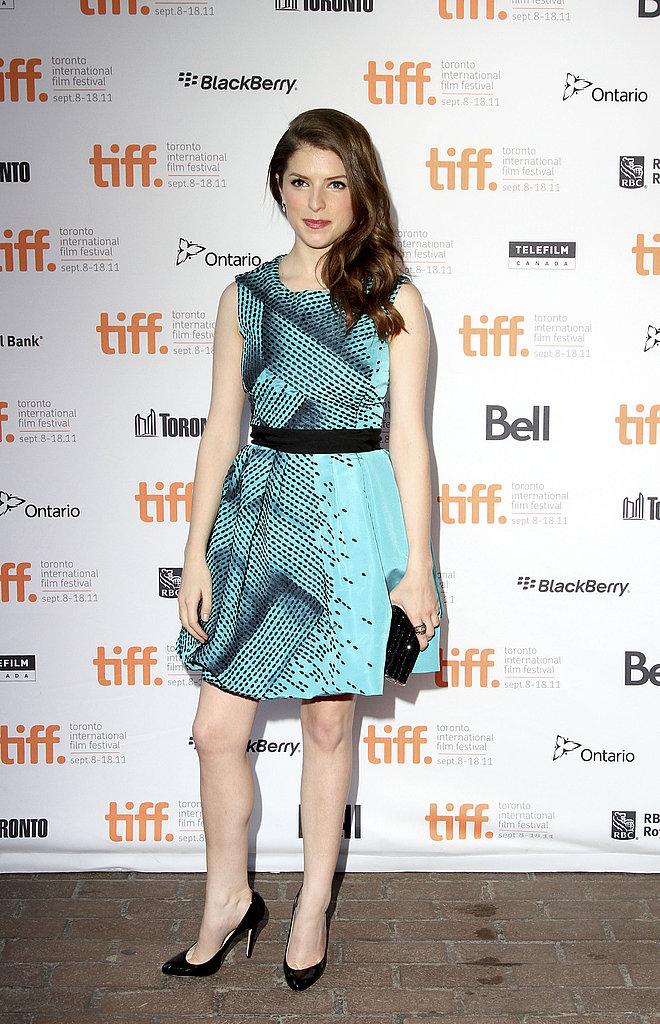 Anna Kendrick in a blue dress.