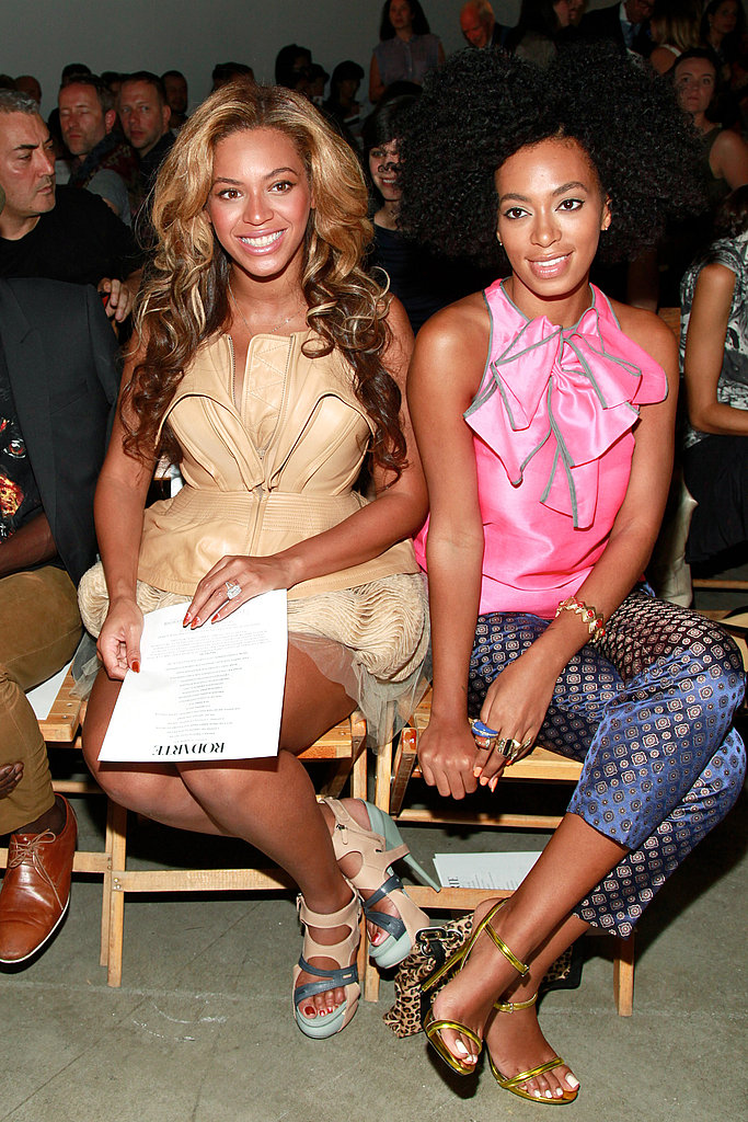 Beyoncé Knowles at NY Fashion Week with her sister.