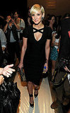 Ashlee Simpson showed up in body-con black at Herve Leger.