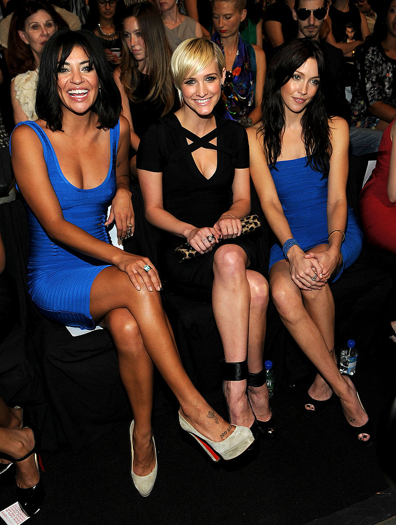Gossip Girl's Jessica Szohr and Katie Cassidy sat alongside Ashlee Simpson front row at Herve Leger.