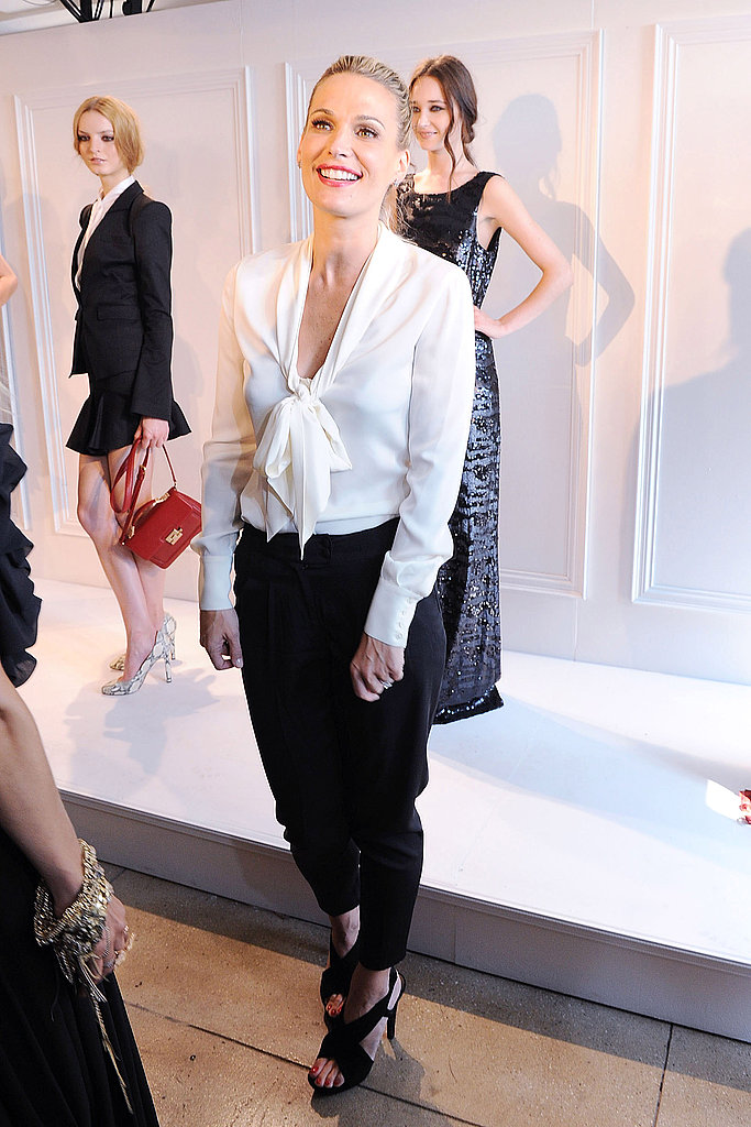 Molly Sims opted for a chic black and white look at Rachel Zoe's presentation.