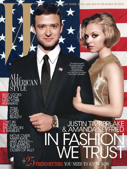 Justin Timberlake and Amanda Seyfried on W magazine's October 2011 cover.