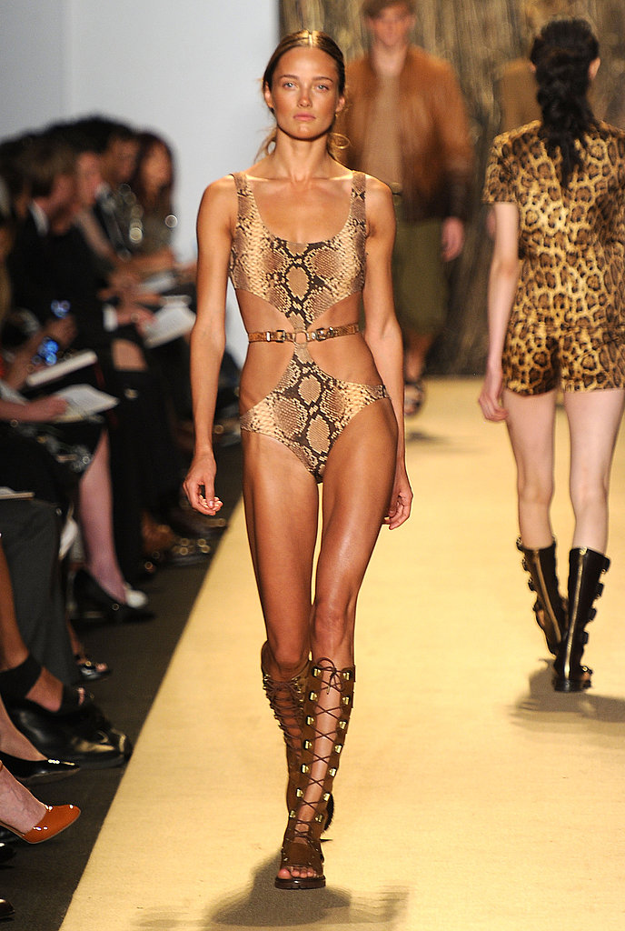 A gorgeous, snake-print cutout suit from the Michael Kors collection.
