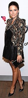 Sophia Bush in Leather Skirt and Sequin Jacket by Alice and Olivia