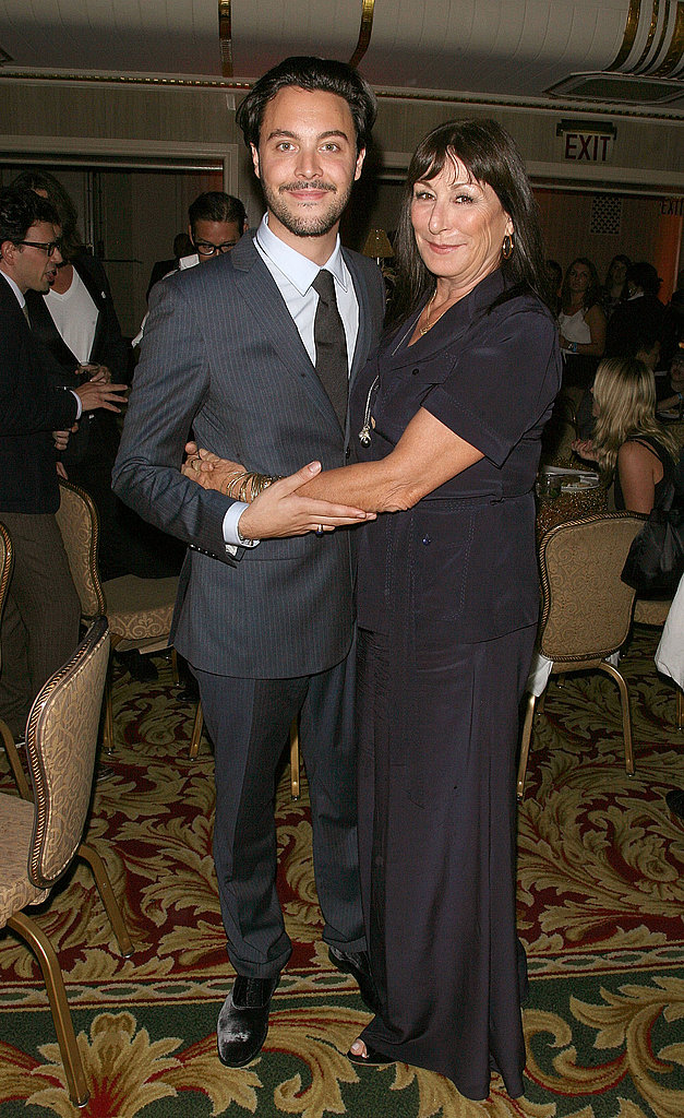 Jack Huston with his aunt, Anjelica Huston, at the Boardwalk Empire afterparty.