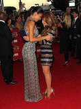 Nicole and Paula sparkled in metallic dresses.