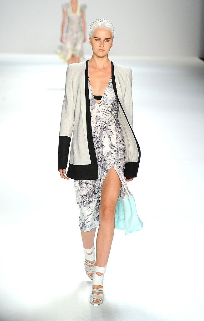 Narciso Rodriguez amped up the sex appeal on his printed frocks with lower necklines and thigh-high slits.