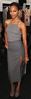 Zoe Saldana in Gray Michael Kors Tank and Skirt