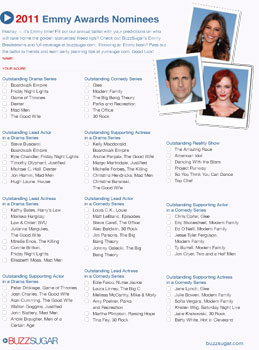 Printable Emmy Awards Ballot Sept. 2011