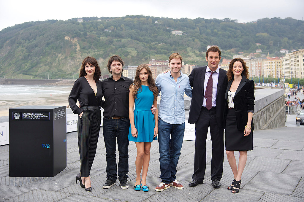 Carice van Houten, Juan Carlos Fresnadillo, Ella Purnell, Daniel Bruhl, Clive Owen, and Pilar Lopez de Ayala at the Intruders photocall at Kursaal Palace during the San Sebastian International Film Festival.