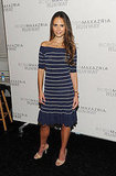 Jordana Brewster in chic stripes at BCBG MaxAzria.