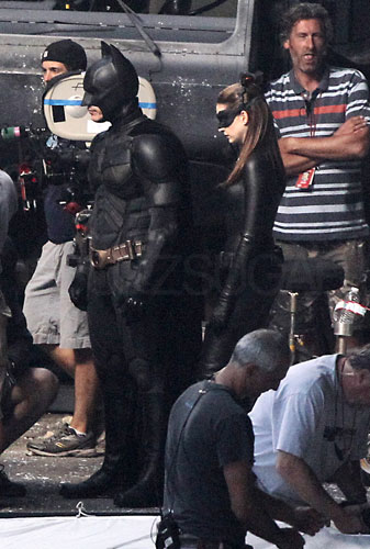 Christian Bale as Batman and Anne Hathaway as Catwoman in The Dark Knight Rises.