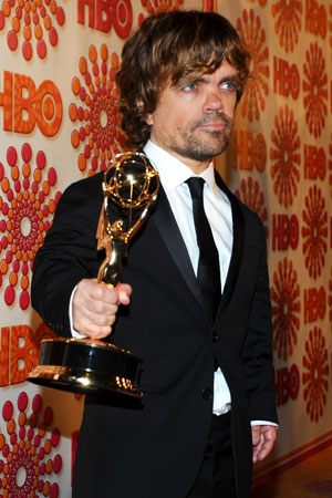 Peter Dinklage arrived at the HBO Emmy afterparty with his Emmy for best supporting actor in hand.