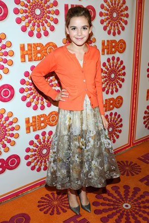 Kiernan Shipka, who plays Don Draper's daughter on Mad Men, wore a brightly colored cardigan over a dress to the HBO Emmy afterparty.